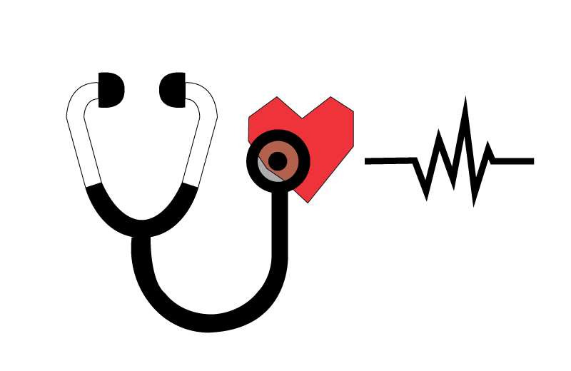 Icon of stethescope and heart describing the CS4B service of company reports and health check
