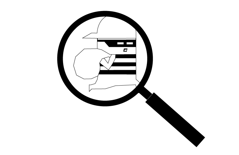 Icon of a thief in a magnifying glass describing the CS4B service of tracing